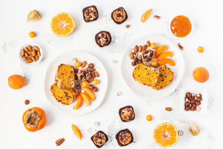 Table served for thanksgiving dinner. Autumn food on white background. Flat lay, top view Imagens