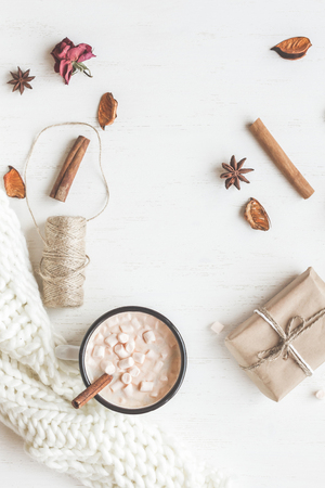 Autumn. Hot chocolate, knitted blanket, gift, dried flowers and leaves. Flat lay, top view