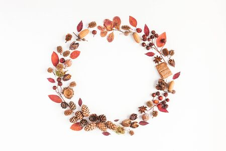 Autumn composition. Wreath made of autumn leaves, pine conces, anise star. Flat lay, top view, copy space