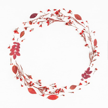 Autumn composition. Wreath made of autumn red leaves and flowers. Flat lay, top view, copy space, square Archivio Fotografico