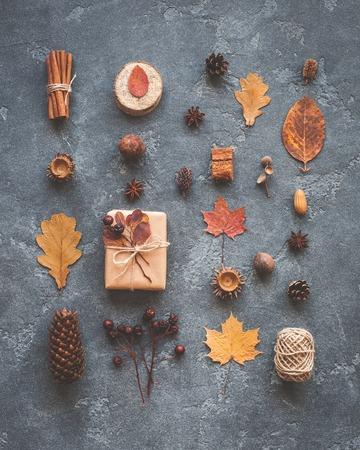 Composición del otoño. Regalo, hojas de otoño, palitos de canela, anís estrellas, pino conos sobre fondo negro. Vista plana Foto de archivo