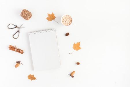 Composición del otoño. Taza de café, cuaderno, hojas de otoño sobre fondo blanco. Piso plano, vista superior.