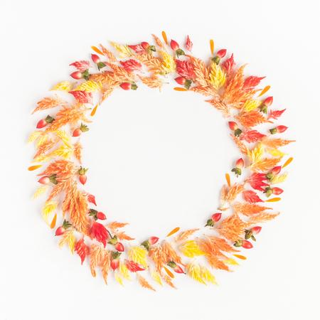 Composición del otoño. Marco hecho de flores y hojas de otoño. Flat lay, vista desde arriba, copia espacio Foto de archivo