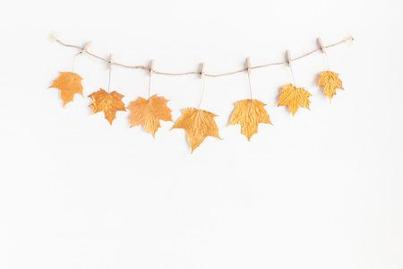 Jesienna kompozycja. Jesienią liści klonu drzewa na białym tle. Płaski, górny widok, miejsce na kopię
