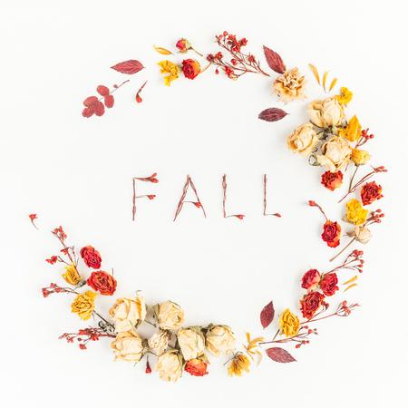 秋季構圖。由秋天干燥的葉子和花朵的花圈。平躺,頂視圖,廣場 版權商用圖片