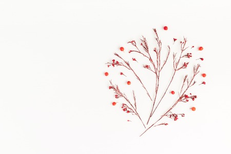Autumn composition. Tree made of autumn red flowers and berries. Flat lay, top view, copy space