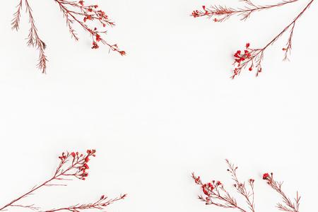 Composición del otoño. Marco hecho de otoño hojas rojas y flores. Flat lay, vista superior, espacio de copia, cuadrado