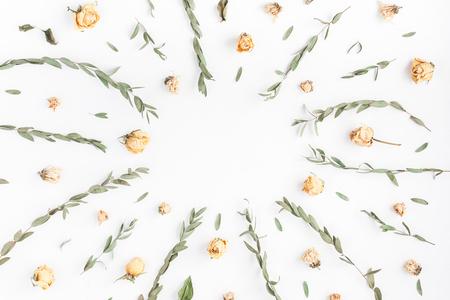 Skład kwiatów. Rama wykonana z kwiatów róży i oddziałów eukaliptusa na białym tle. Płaski, górny widok, miejsce na kopię Zdjęcie Seryjne