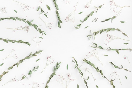 Flowers composition. Frame made of pink flowers and eucalyptus branches on white background. Flat lay, top view, copy space