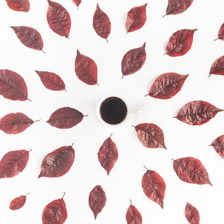 Autumn composition. Cup of coffee, autumn red leaves on white background. Flat lay, top view, square