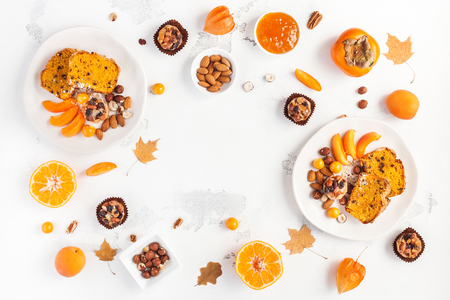 Table served for thanksgiving dinner. Autumn food on white background. Flat lay, top view, copy space