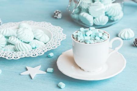 Boże Narodzenie. Zimowy. Gorąca czekolada z marshmallow Zdjęcie Seryjne