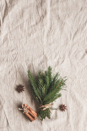 Christmas composition. Bouquet of fir branches, cinnamon sticks, anise star. Flat lay, top view