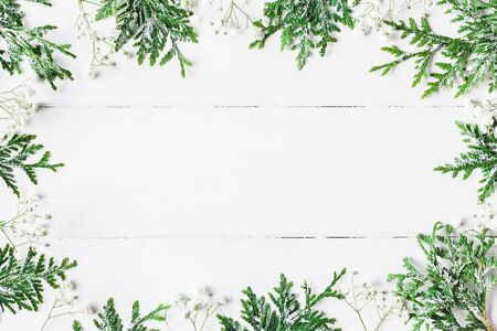 Thuja 枝と木製白地黒花のクリスマス フレーム。クリスマス、冬、新年の概念。コピー スペース フラット横たわっていた、トップ ビュー 写真素材