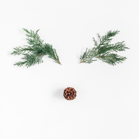 Christmas decoration. Christmas deer made of pine branches and pine cone on white. Flat lay, top view, square 写真素材