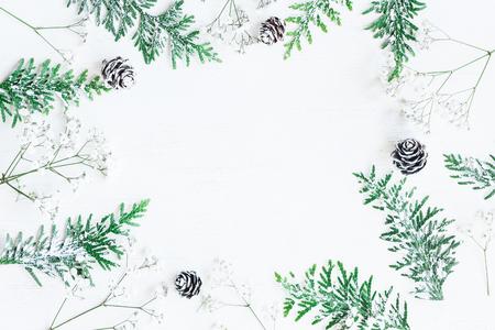 Winterrahmen gemacht von den Kiefernkegeln, von den thuja Niederlassungen und von den Gypsophilablumen. Winter Zusammensetzung. Draufsicht, flache Lage Lizenzfreie Bilder