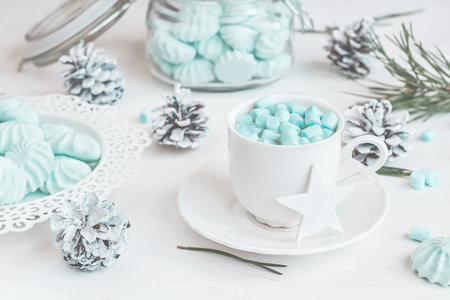 Christmas. Winter. Hot chocolate with marshmallow. Christmas composition