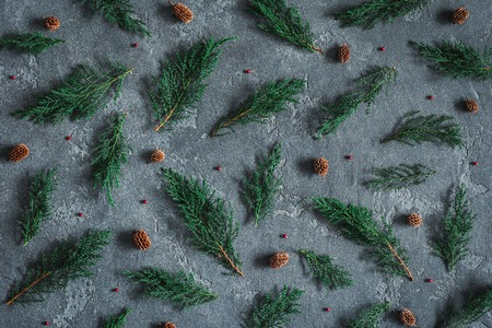 Christmas composition. Pattern made of cypress branches, pine cones on black background. Christmas, winter, new year concept. Flat lay, top view Zdjęcie Seryjne