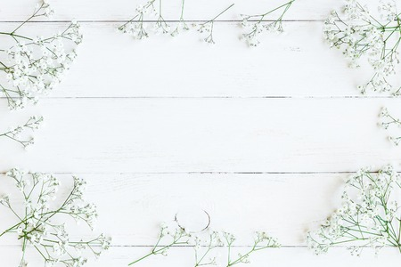 Frame made of gypsophila flowers. Winter frame. Flat lay, top view Stock Photo