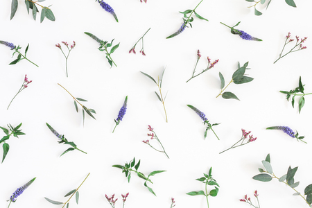 Flowers composition. Pattern made of purple and pink flowers on white background. Flat lay, top view