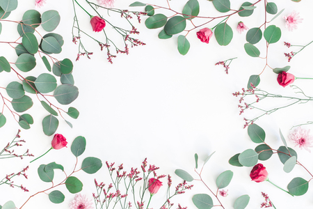 Flowers composition. Frame made of eucalyptus branches and pink flowers on white background. Flat lay, top view, copy space Фото со стока