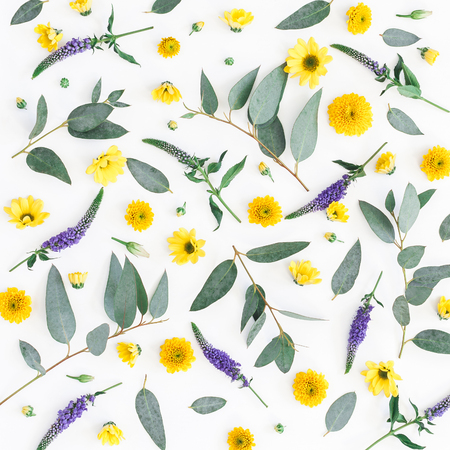 Flowers composition. Pattern made of yellow, purple flowers and eucalyptus branches on white background. Flat lay, top view, square