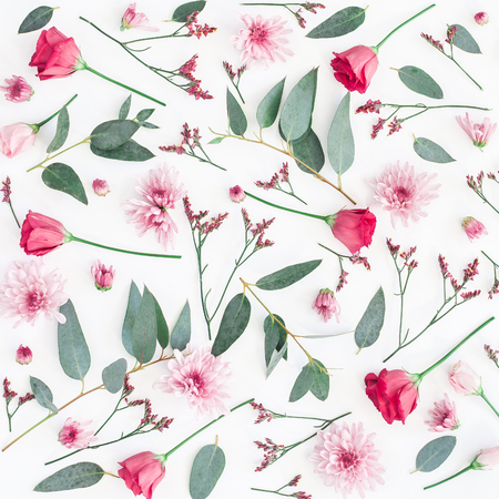Flowers composition. Pattern made of various pink flowers and eucalyptus branches on white background. Flat lay, top view, square