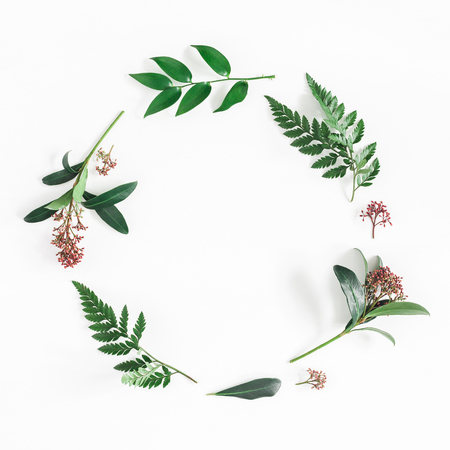 Flowers composition. Wreath made of tropical flowers and leaves on white background. Flat lay, top view, copy space, square Фото со стока