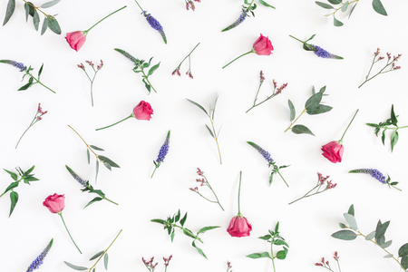 Flowers composition. Pattern made of various colorful flowers on white background. Flat lay, top view, copy space