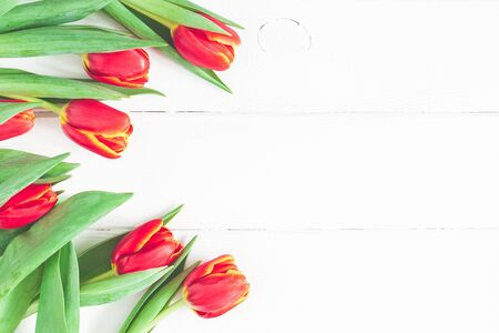 Flowers composition. Frame made of red tulip flowers on white wooden background. Flat lay, top view, copy space