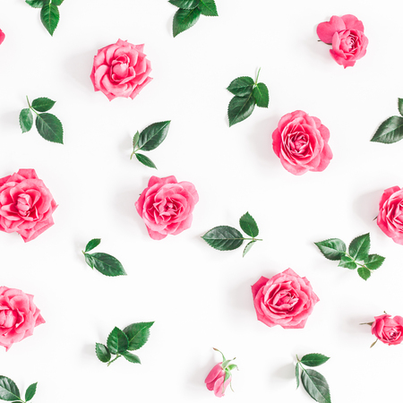 Flowers composition. Pattern made of pink rose flowers on white background. Flat lay, top view, square