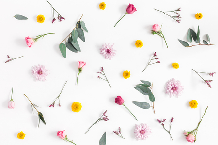 Flowers composition. Pattern made of various colorful flowers on white background. Flat lay, top view