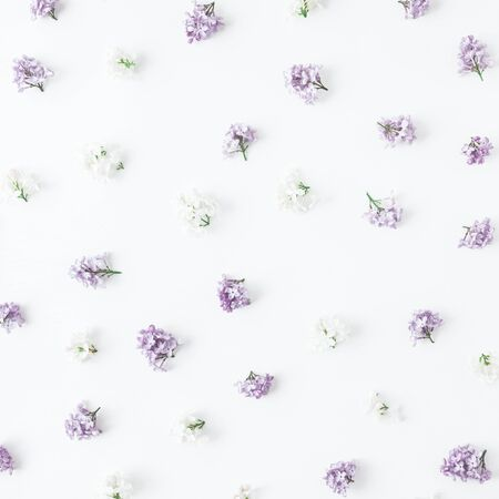 Flowers composition. Spring lilac flowers on white wooden background. Flat lay, top view, square