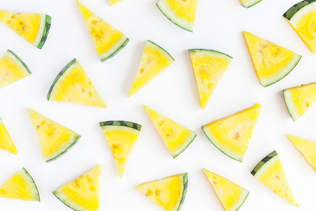 Watermelon pattern. Yellow watermelon on white background. Summer concept. Flat lay, top view