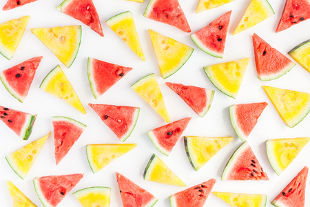 Watermelon pattern. Red and yellow watermelon on white background. Summer concept. Flat lay, top view