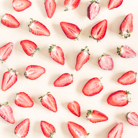 Strawberry pattern on pastel yellow background. Summer concept. Flat lay, top view, square