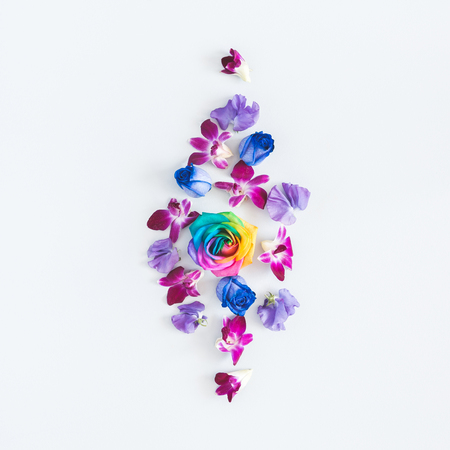 Flowers composition. Rainbow flowers on pastel blue background. Flat lay, top view 写真素材
