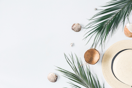Summer composition. Tropical palm leaves, hat, coconut on pastel blue background. Summer concept. Flat lay, top view, copy space Stockfoto