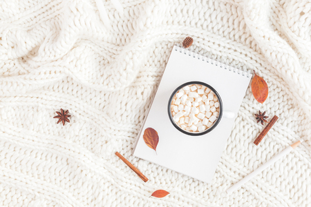 Autumn composition. Cup of coffee, plaid, notebook, autumn leaves. Flat lay, top view