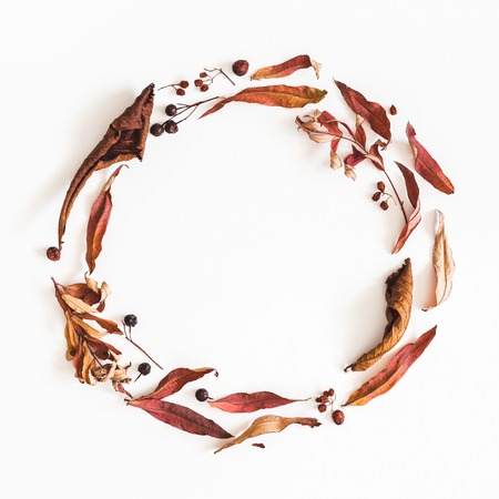 Autumn composition. Wreath made of autumn dried leaves on white background. Flat lay, top view, copy space