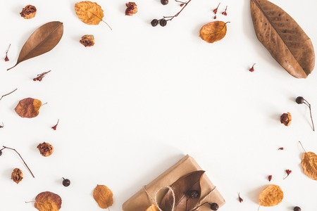 Autumn composition. Gift box, dried flowers and leaves on white background. Autumn, fall concept. Flat lay, top view, copy space Foto de archivo - 105442819