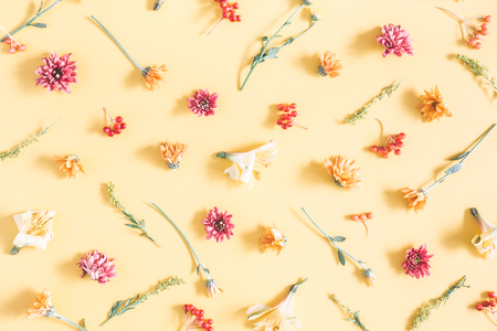 Autumn composition. Pattern made of orange and yellow flowers on pastel yellow background. Autumn, fall concept. Flat lay, top view Stock Photo
