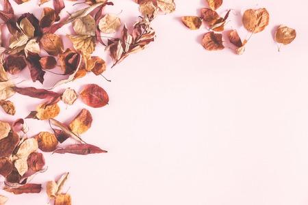 Composición de otoño. Marco de flores de otoño y hojas sobre fondo rosa pastel. Endecha plana, vista superior, espacio de copia