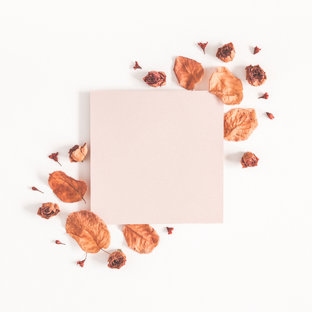 Autumn composition. Paper blank, dried flowers and leaves on white background. Autumn, fall concept. Flat lay, top view, copy space, square