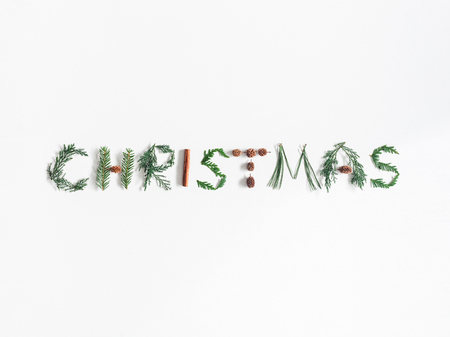 Christmas composition. Word Christmas made of different winter plants, cinnamon sticks, pine cones on white background. Flat lay, top view