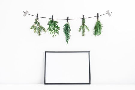 Christmas composition. Black frame and christmas tree branches on white background. Front view, mock up, copy space