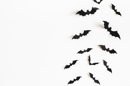 Halloween paper decorations on white background. Halloween concept. Flat lay, top view, copy space 스톡 콘텐츠