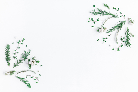 Frame made of winter plants, flowers, berries on white background. Flat lay, top view, copy space