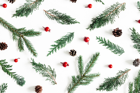 Christmas composition. Pattern made of coniferous tree branches, red berries on white background. Christmas, winter, new year concept. Flat lay, top view
