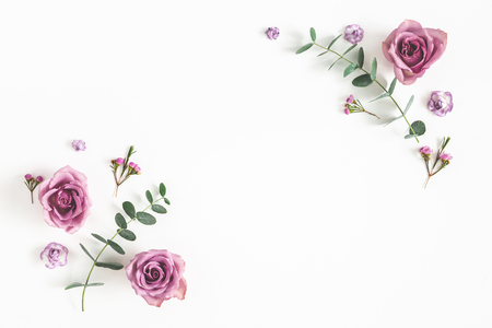 Bloemen samenstelling. Frame gemaakt van eucalyptus takken en roze bloemen op witte achtergrond. Platliggend, bovenaanzicht, kopieerruimte Stockfoto